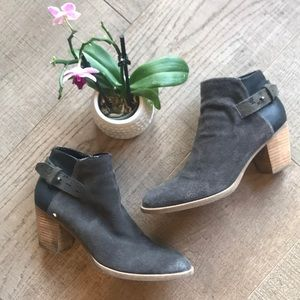 Dolce Vita Gray Distressed Suede Ankle Boots EUC!